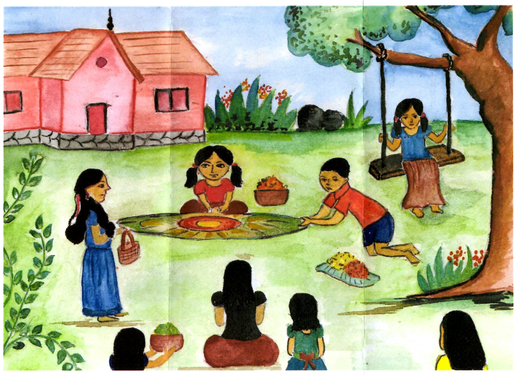 A colorful picture drawn by a child in the SOS Village in Bangalore