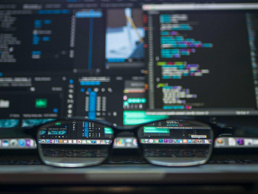 Looking through eyeglasses at various softwares